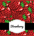 delicious strawberry fresh fruit label pattern vector image