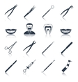 Dental instruments icons set black vector image