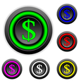 Dollar buttons set vector image