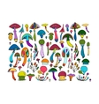 Fantastic mushrooms set sketch for your design vector image
