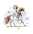 Floral girl on white horse for your design vector image