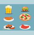 food icons beer cheeseburger hot dog pizza sushi vector image