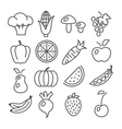 Fruits and Vegetables Line Icons vector image vector image