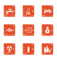 gamer money icons set grunge style vector image vector image
