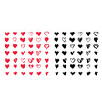 heart icons set hand drawn icons vector image vector image