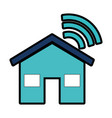 house silhouette with wifi signal vector image vector image