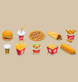 isometric fast food elements set vector image