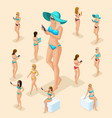 isometric people 3d girl in bathing suits beach vector image vector image