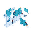 isometric young entrepreneurs team working vector image