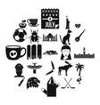 landmark icons set simple style vector image