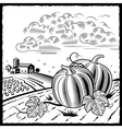 Landscape with pumpkins black and white