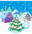 Landscape with snowman and Christmas tree vector image