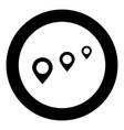 location way black icon in circle vector image vector image