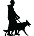 man and dog vector image vector image