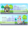 pizza and hot dogs web set vector image vector image