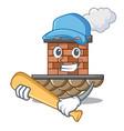 playing baseball brick chimney in the shape mascot vector image vector image