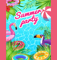 pool party card swim summer inflatable toys vector image