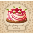 Raspberry vanilla pudding label vector image vector image