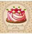 Raspberry vanilla pudding label vector image vector image