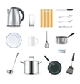 Realistic Kitchen Utensils Icons Set vector image