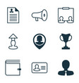 resources icons set with administrator speaker vector image vector image