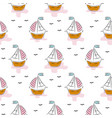 seamless pattern with cartoon boats on stripe vector image vector image