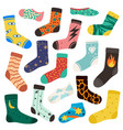 socks cotton color long and short sock vector image