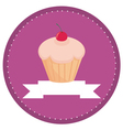 sweet retro cherry cupcake button vector image vector image