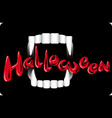 vampire teeth on a dark background holiday vector image