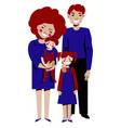 young happy family mom dad daughter son vector image