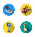 transmission handle tow truck parking sign stop vector image
