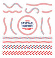 baseball laces set baseball seam brushes red and vector image