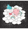 Cute baby cupid in the blue sky vector image