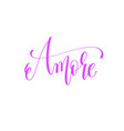 Amore - hand lettering love quote to valentines vector image