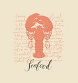 banner or seafood menu with a big lobster vector image vector image