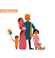 big happy indian family vector image vector image