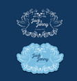 blue wedding logo with couple birds vector image