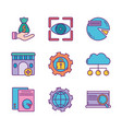 business strategy digital marketing icons set vector image