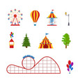 cartoon amusement park color icon set vector image