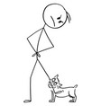 cartoon angry man with small aggressive dog vector image vector image