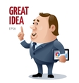 cartoon businessman who has a great idea vector image