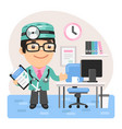 cartoon doctor physician in office vector image