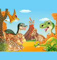cartoon happy dinosaurs with volcano vector image vector image