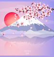 cherry blossom with mountain and sun vector image vector image