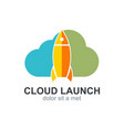 cloud launch rocket icon logo vector image