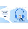 concept headphones repair vector image vector image