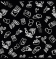 cookie ingredients pattern on black background vector image