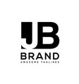 creative letter jb logo design black and white vector image vector image