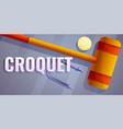 croquet equipment concept banner cartoon style vector image vector image
