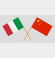 crossed flags china and italy vector image vector image